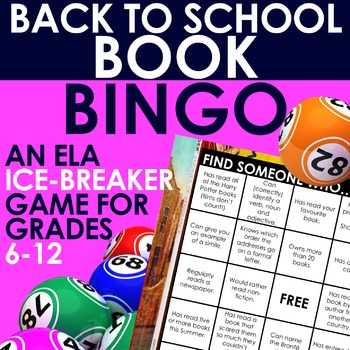 BACK TO SCHOOL BOOK BINGO - 10 'Ice Breaker' Bingo Cards o