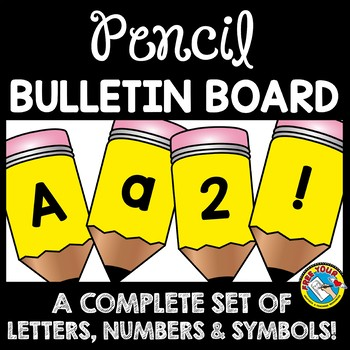 back to school bulletin board letters printable pencil a z numbers symbols
