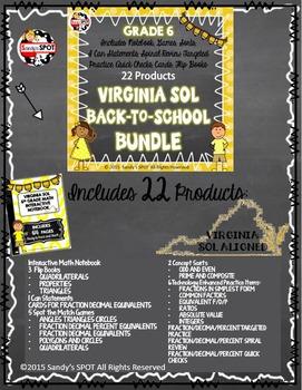 Virginia SOL Grade 6 MATH BIG BUNDLE