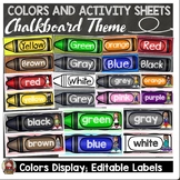 CHALKBOARD DECOR: COLORS DISPLAY: ACTIVITY SHEETS: EDITABLE LABELS