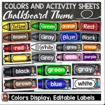 CHALKBOARD DECOR: COLORS DISPLAY: ACTIVITY SHEETS: EDITABLE LABELS