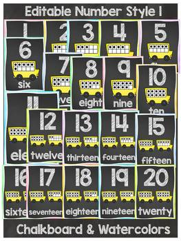 BACK TO SCHOOL CLASS DECOR CHALKBOARD NUMBERS { POSTERS AND PRINT-N-GO SHEETS}