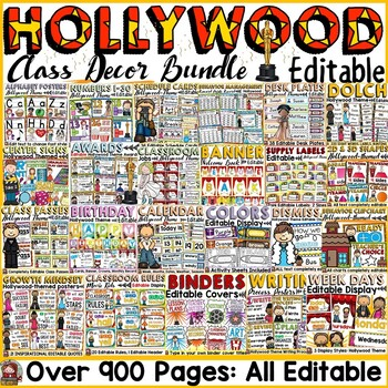 BACK TO SCHOOL MEGA CLASS DECOR {HOLLYWOOD THEME} BUNDLE