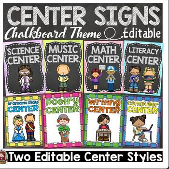 BACK TO SCHOOL EDITABLE CLASSROOM CENTER SIGNS & LABELS {KIDS & CHALKBOARD}