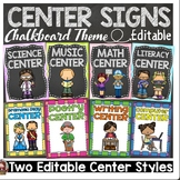 BACK TO SCHOOL EDITABLE CLASSROOM CENTER SIGNS & LABELS {K