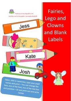 BACK TO SCHOOL - CLASSROOM LABELS - FAIRIES LEGO CLOWNS - BLANK