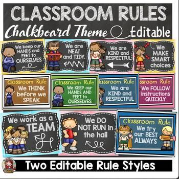 BACK TO SCHOOL - EDITABLE CLASSROOM RULES {CHALKBOARD THEME CLASS DECOR}