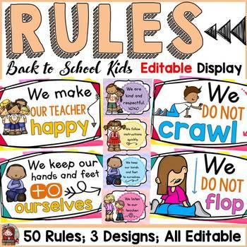 BACK TO SCHOOL - EDITABLE CLASSROOM RULES {ICE-CREAM CHEVRON}