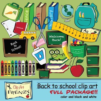 BACK TO SCHOOL BUNDLE FROM CLIP ART FRENZY 70 CLIP ART IMAGES COLOR AND B&W