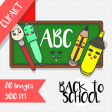 Back to School: Clips Clipart - Kawaii Style (School Objects)