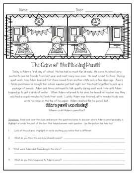 BACK TO SCHOOL CLOSE READING COMPREHENSION  MYSTERY PASSAGES FREEBIE