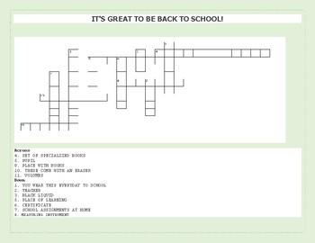 BACK TO SCHOOL CROSSWORD FUN!