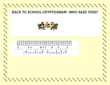 BACK TO SCHOOL CRYPTOGRAM -GRADES 4-7