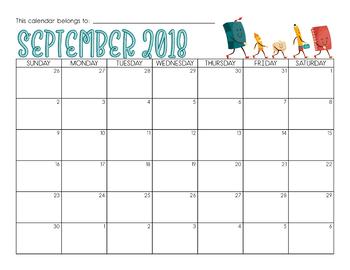 BACK TO SCHOOL Calendar for September 2018