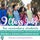 Back to School:Class Jobs Gallery Walk Lesson with Job Application (EDITABLE)