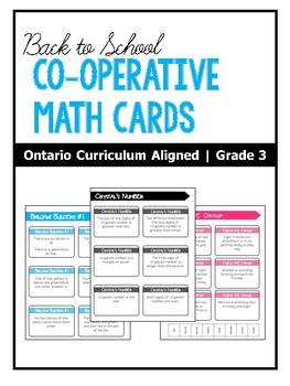 BACK TO SCHOOL | Cooperative Math Cards | Problem-Solving | ONTARIO | Grade 3
