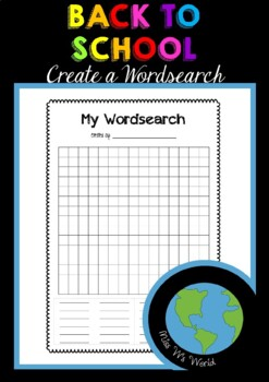 BACK TO SCHOOL - Create a Wordsearch