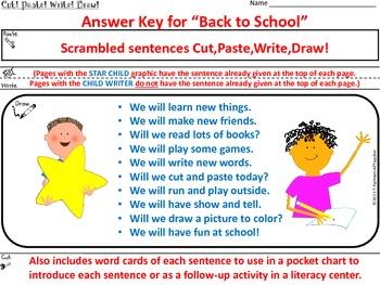 BACK TO SCHOOL ~ Cut, Paste, Write, Draw! Scrambled Sentences