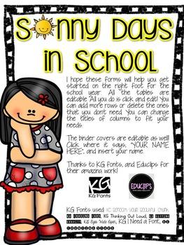 BACK TO SCHOOL DATA BINDER