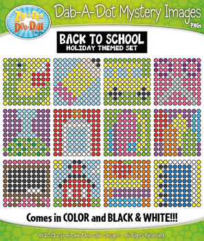 BACK TO SCHOOL Dab-A-Dot Mystery Images Clipart {Zip-A-Dee-Doo-Dah Designs}