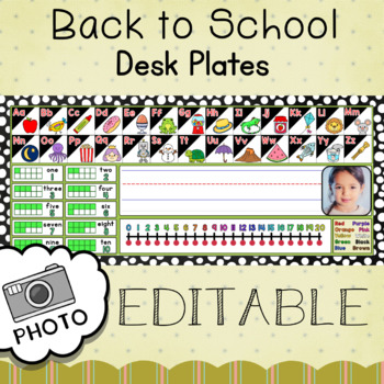 Kindergarten BACK TO SCHOOL Desk Plate PHOTO Editable Name - White Polka Dots