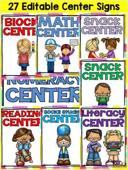 BACK TO SCHOOL EDITABLE CLASSROOM CENTER SIGNS & LABELS {CLASS DECOR}