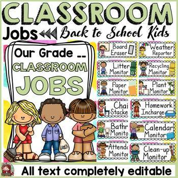BACK TO SCHOOL KIDS CLASS DECOR: EDITABLE CLASSROOM JOBS
