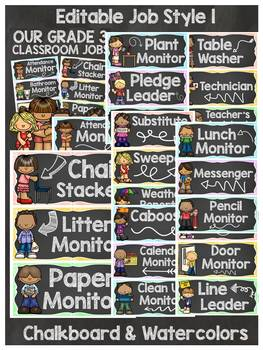 BACK TO SCHOOL - EDITABLE CLASSROOM JOBS AND NAME LABELS{CHALKBOARD THEME}