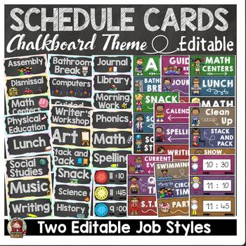 BACK TO SCHOOL - EDITABLE SCHEDULE CARDS {CHALKBOARD THEME}