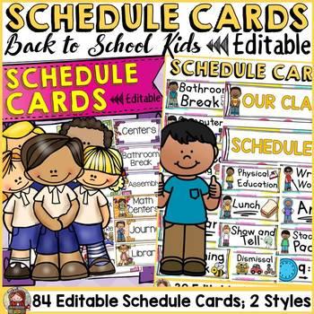 BACK TO SCHOOL - EDITABLE SCHEDULE CARDS {Kids & Ice-cream