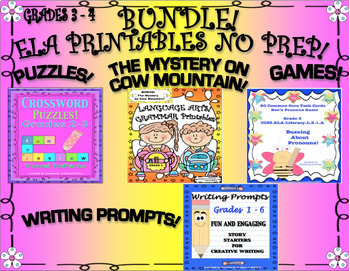 FALL REVIEW ELA PRINTABLES GAMES PUZZLES + BONUS THE MYSTERY ON COW MOUNTAIN