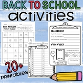 BACK TO SCHOOL ACTIVITIES: NO PREP Printables for the 1st