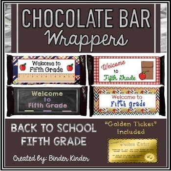 Back to School Chocolate Bar Wrappers-Fifth Grade