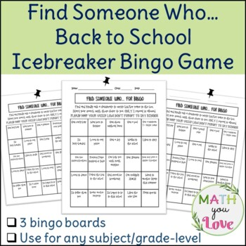 BACK TO SCHOOL FIRST DAY ICE BREAKER FIND SOMEONE WHO BINGO GAME MATH