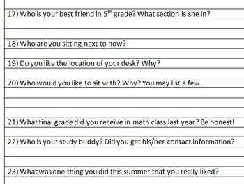 BACK TO SCHOOL FIRST DAY ICE BREAKER STUDENT SURVEY FUN