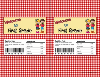 Back to School Chocolate Bar Wrappers-First Grade