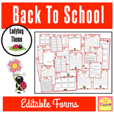 "BACK TO SCHOOL FORMS AND LISTS ""LADYBUG THEME"""