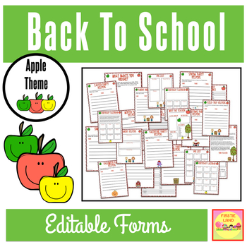 """BACK TO SCHOOL FORMS AND LISTS """"APPLE THEME"""""""