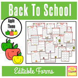 "BACK TO SCHOOL FORMS AND LISTS ""APPLE THEME"""