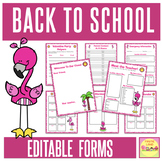 BACK TO SCHOOL FORMS AND LISTS Flamingo Theme