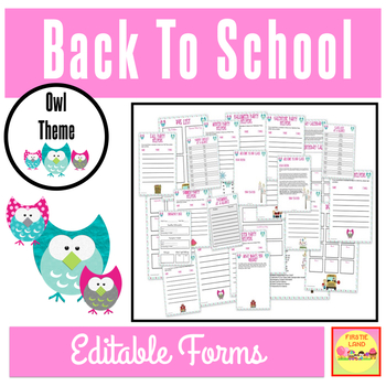 BACK TO SCHOOL FORMS AND LISTS OWL THEME