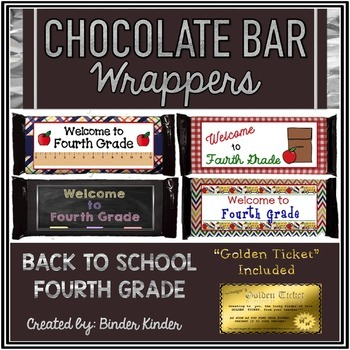 Back to School Chocolate Bar Wrappers-Fourth Grade