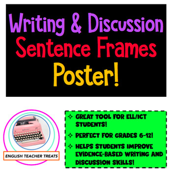 BACK-TO-SCHOOL FREEBIE!  Writing and Discussion Sentence Starters Chart/Poster!