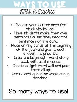 Sight Word Sentence Cards