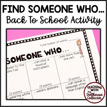 "BACK TO SCHOOL ""Find Someone Who..."" Activity - GETTING TO KNOW YOU"