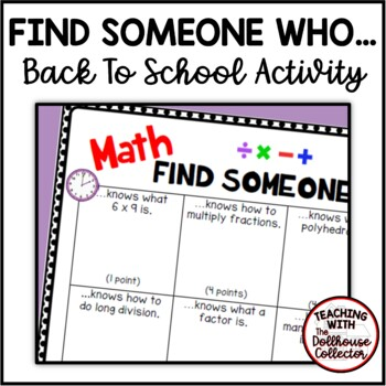 """BACK TO SCHOOL """"Find Someone Who..."""" Activity - MATH"""