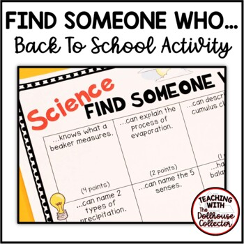 "BACK TO SCHOOL ""Find Someone Who..."" Activity - SCIENCE"