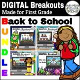 BACK TO SCHOOL First Grade Virtual Escape Room BUNDLE