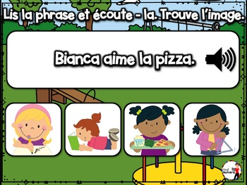 BACK TO SCHOOL French BOOM cards - Écoute et lis la phrase. (SEPTEMBRE : Jeu 2)