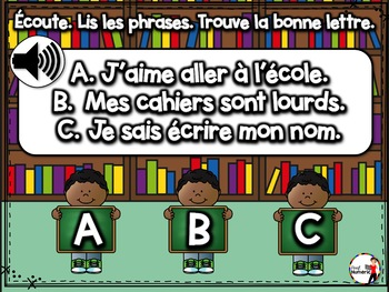 BACK TO SCHOOL French BOOM cards-Écoute et lis les phrases. (SEPTEMBRE : Jeu 3)
